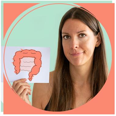 Ernährungsberaterin Helen Schenkl von der Weglasserei mit traurigem Darm