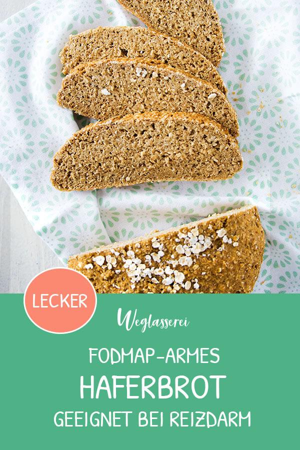 FODMAP-armes und saftiges Brot aus Hafer. Noch mehr gesunde FODMAP-arme Rezepte auf Deutsch findest du auf meinem Blog www.weglasserei.de Außerdem Tipps und Motivation, um deine Lebensmittelunverträglichkeit oder Reizdarm in den Griff zu bekommen. #gesunderezepte #glutenfrei #laktosefrei #fructosearm #nahrungsmittelunvertraeglichkeit #reizdarm #fodmap #brot