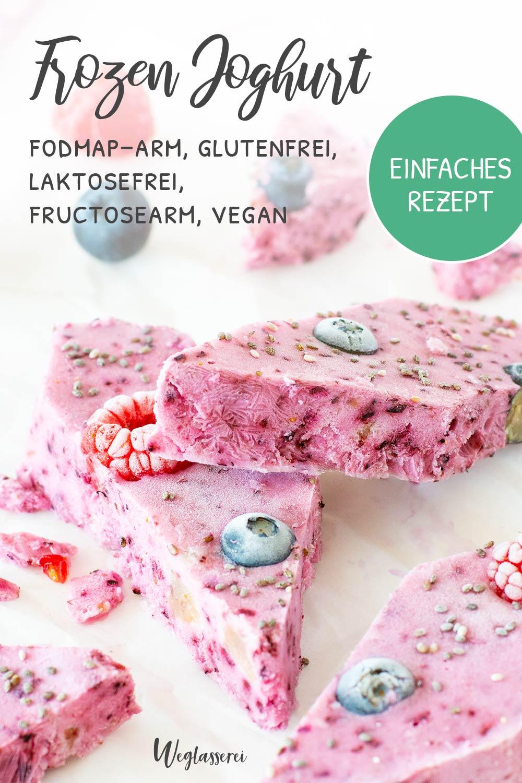 Frozen-Joghurt-Bites sind die perfekte Erfrischung und Alternative zu Eis im Sommer bei Hitze. Noch mehr FODMAP-arme Rezepte auf Deutsch findest du auf meinem Blog Weglasserei. Sowie Motivation, um deine Nahrungsmittelunverträglichkeit oder Reizdarm in den Griff zu bekommen. #gesunderezepte #glutenfrei #laktosefrei #fructosearm #lebensmittelunvertraeglichkeit #fodmap #fodmapdiät #fodmaparm #lowfodmap