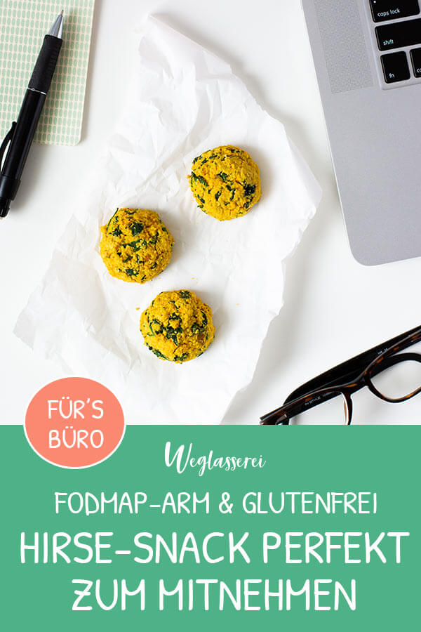 Gesunde Snacks für zwischendurch aus Hirse und Gemüse sind perfekt zum Mitnehmen für Büro und Uni. Noch mehr FODMAP-arme Rezepte auf Deutsch findest du auf meinem Blog. Sowie Motivation, um deine Nahrungsmittelunverträglichkeit oder Reizdarm in den Griff zu bekommen. #gesunderezepte #glutenfrei #laktosefrei #fructosearm #nahrungsmittelunvertraeglichkeit #reizdarm #fodmap #snack #mitnehmen #unterwegs