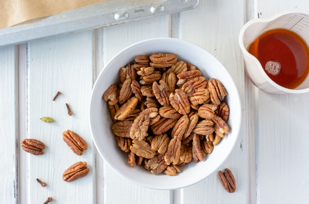 Pecannüsse für karamellisierte Nüsse