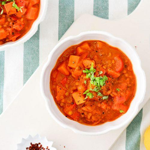 Wärmendes Kürbis-Curry mit Linsen