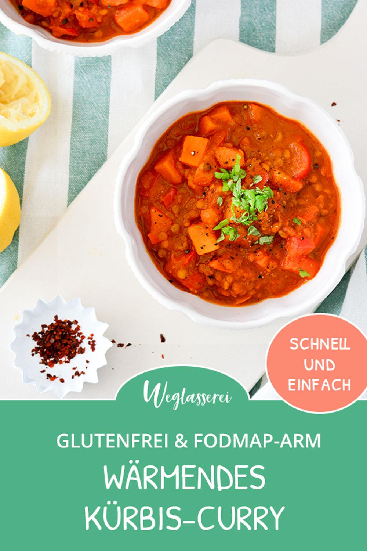 Wärmendes Kürbis Curry mit Linsen für kalte Herbsttage. Noch mehr FODMAP-arme #rezepte auf Deutsch findest du auf meinem Blog. Sowie Motivation, um deine #nahrungsmittelunverträglichkeit oder #reizdarm in den Griff zu bekommen. #gesunderezepte #glutenfrei #laktosefrei #fructosearm #lebensmittelunvertraeglichkeit #fodmap #fodmapdiät #fodmaparm #curry #chili #vegan #vegetarisch