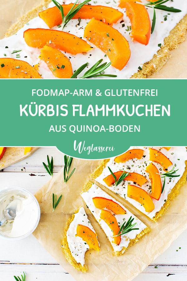 FODMAP-armes Rezept auf Deutsch: Kürbis Flammkuchen mit Quinoaboden. Noch mehr FODMAP-arme findest du auf meinem Blog. Sowie Motivation, um deine #nahrungsmittelunverträglichkeit oder #reizdarm in den Griff zu bekommen. #gesunderezepte #glutenfrei #laktosefrei #fructosearm #lebensmittelunvertraeglichkeit #fodmap #fodmapdiät #fodmaparm #flammkuchen #quinoa #kürbis #vegetarisch #vegan
