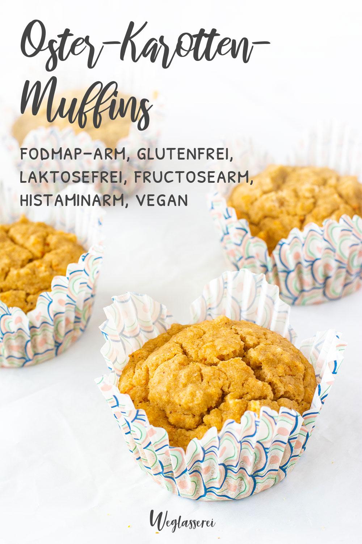 Glutenfreie Oster Muffins mit Karotten für Ostern zum Brunch, Frühstück oder Tee. Noch mehr FODMAP-arme Rezepte auf Deutsch findest du auf meinem Blog Weglasserei. Sowie Motivation, um deine Nahrungsmittelunverträglichkeit oder Reizdarm in den Griff zu bekommen. #gesunderezepte #glutenfrei #laktosefrei #fructosearm #lebensmittelunvertraeglichkeit #fodmap #fodmapdiät #fodmaparm #lowfodmap #histaminarm