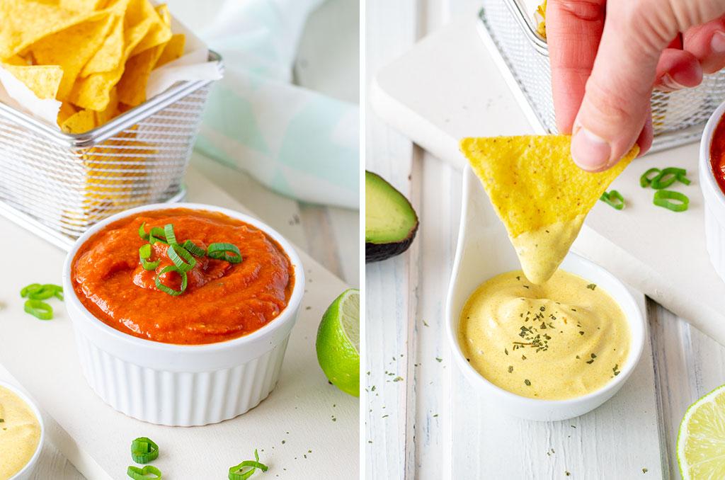 Salsa und Sour Cream als Dip für glutenfreie Nachos