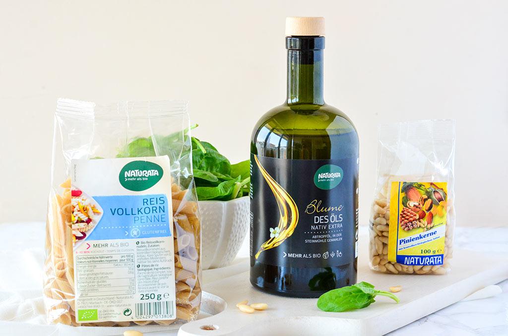 Naturata Olivenöl, Pinienkerne und Reis Penne