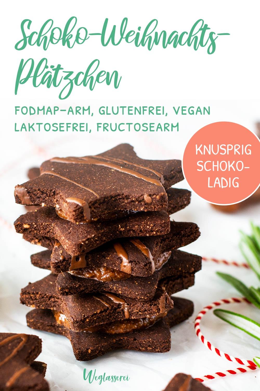 Bekömmliche Schokoladen Weihnachtsplätzchen für die Adventszeit mit Reizdarm und Nahrungsmittelunverträglichkeiten. Noch mehr FODMAP-arme Rezepte auf Deutsch findest du auf meinem Blog Weglasserei. Sowie Motivation, um deine Nahrungsmittelunverträglichkeit oder Reizdarm in den Griff zu bekommen. #gesunderezepte #glutenfrei #laktosefrei #fructosearm #lebensmittelunvertraeglichkeit #fodmap #fodmapdiät #fodmaparm #lowfodmap