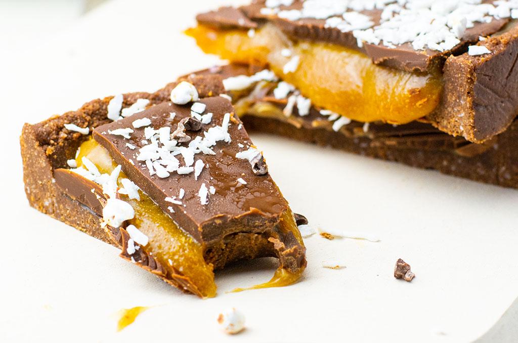 Vegane Schokoladen Karamell Tarte