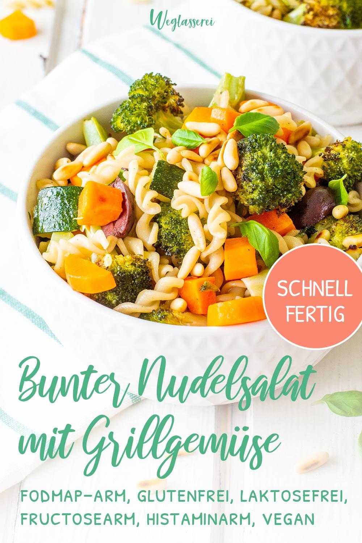 Glutenfreier Nudelsalat mit Grillgemüse ist die perfekte Beilage zum Grillen mit Reizdarm oder einer Nahrungsmittelunverträgilchkeit. Er ist schnell fertig und schmeckt fantastisch! Noch mehr FODMAP-arme Rezepte auf Deutsch findest du auf meinem Blog Weglasserei. Sowie Motivation, um deine Nahrungsmittelunverträglichkeit oder Reizdarm in den Griff zu bekommen. #gesunderezepte #glutenfrei #laktosefrei #fructosearm #lebensmittelunvertraeglichkeit #fodmap #fodmapdiät #fodmaparm #lowfodmap