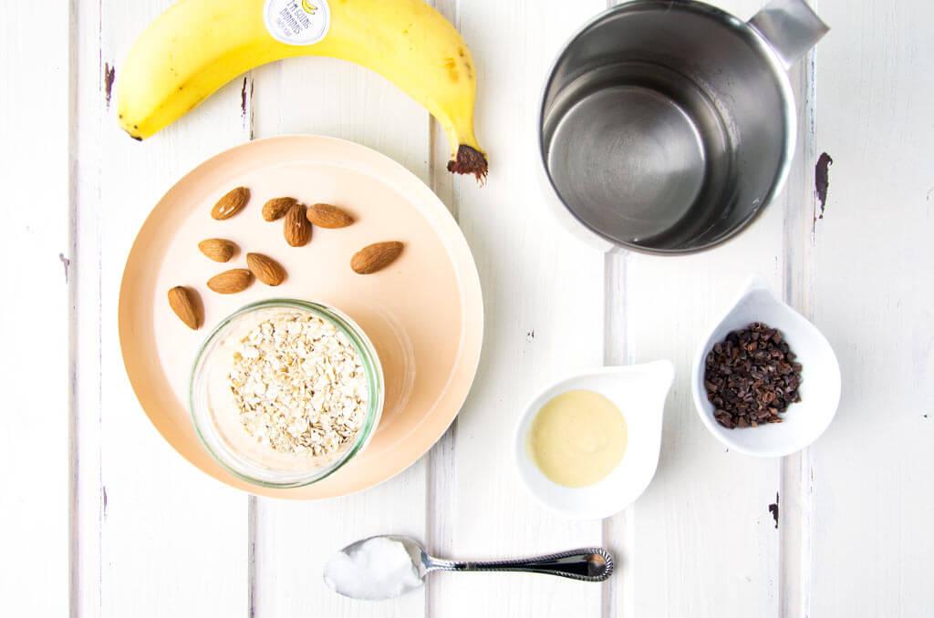 Zutaten für gesundes schnelles Frühstück
