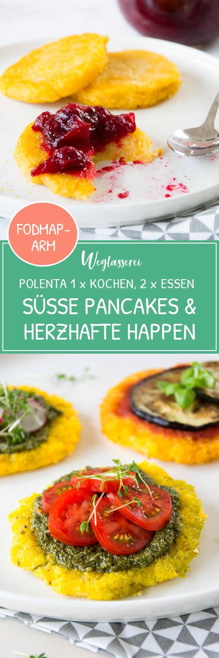 2 in 1 Rezept: Polenta einmal kochen und zwei verschiedene Essen daraus zubereiten. Süße Polenta Pancakes und herzhafte Polenta Happen. Noch mehr gesunde FODMAP-arme Rezepte findest du auf meinem Blog www.weglasserei.de Dort findest du außerdem Tipps und Motivation, um deine Lebensmittelunverträglichkeit oder Reizdarm in den Griff zu bekommen. #gesunderezepte #glutenfrei #laktosefrei #fructosearm #nahrungsmittelunvertraeglichkeit #reizdarm #fodmap