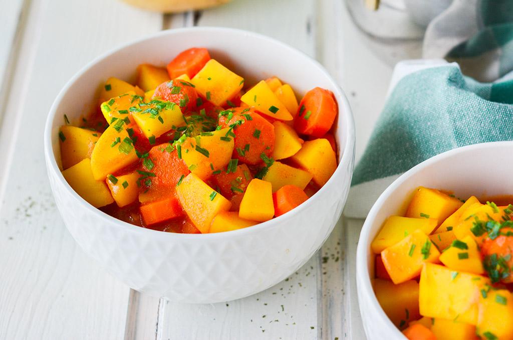Leiche Vollkost mit Kartoffeln und Karotten