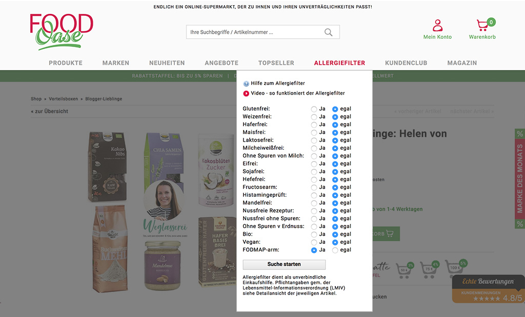 Allergiefilter im FoodOase Onlineshop