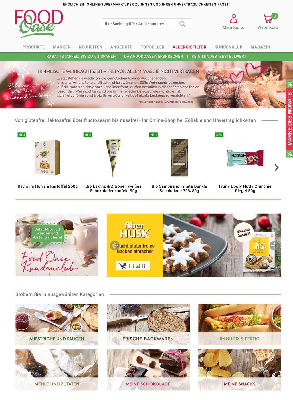 Startseite des FoodOase Online-Shop