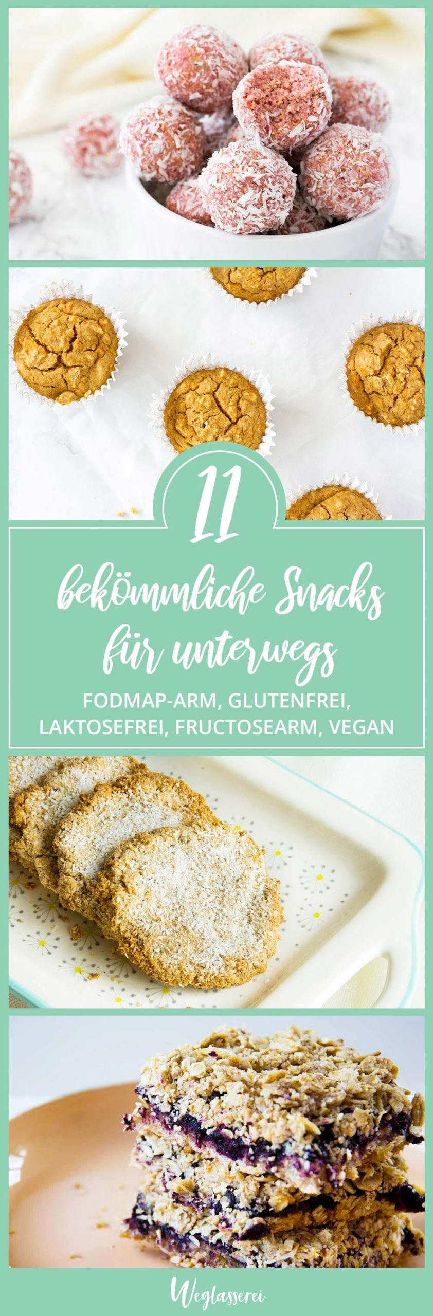 Diese Snacks sind glutenfrei, lowFODMAP, FODMAP-arm, laktosefrei, fructosearm, ohne Milch, ohne Ei, sojafrei und teilweise nussfrei. Damit sind sie verträglich bei einer Nahrungsmittelunverträglichkeit und Reizdarm. Noch mehr Ideen und Motivation findest du auf meinem Blog weglasserei.de