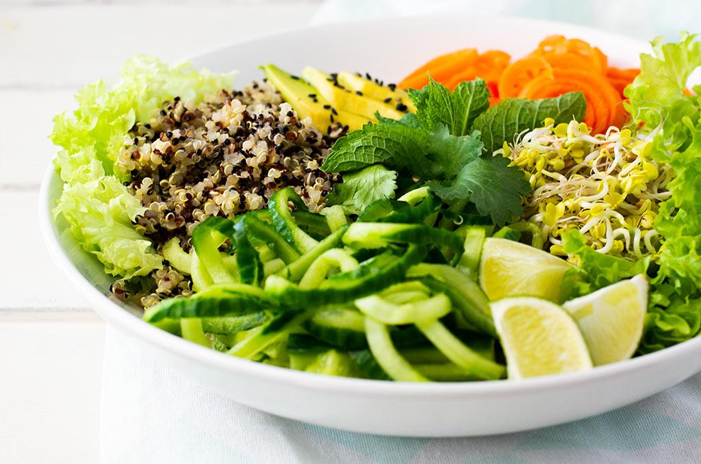 Erfrischender Sommerrollen Salat für den Sommer. Noch mehr FODMAP-arme #rezepte auf Deutsch findest du auf meinem Blog. Sowie Motivation, um deine #nahrungsmittelunverträglichkeit oder #reizdarm in den Griff zu bekommen. #gesunderezepte #glutenfrei #laktosefrei #fructosearm #lebensmittelunvertraeglichkeit #fodmap #fodmapdiät #salat #sommerrollen #vegan #vegetarisch