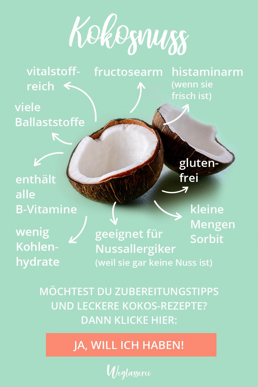 Die Kokosnuss ist gut verträglich bei Reizdarm und einer Nahrungsmittelintoleranz. Sie ist fructosearm, glutenfrei, laktosefrei und histaminarm. Erfahre in der Warenkunde wofür du sie verwenden kannst. #kokosnuss #lowfodmap #gesund