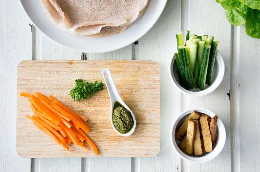 Zutaten für glutenfreie Wraps